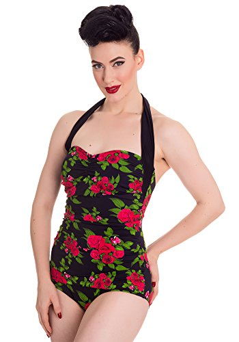 Cute Black Floral 50s Swimsuit