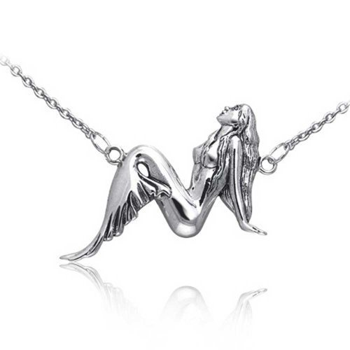 Gorgeous Sterling Silver Mermaid Pendant Necklace