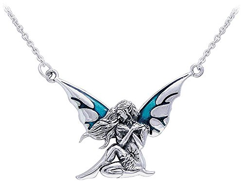 12 magical fairy necklaces for women sterling silver teal enameled dark wings fairy pendant on link necklace chain aloadofball Image collections