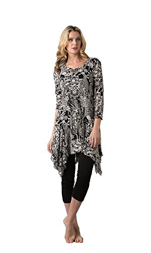 Gorgeous Asymmetrical Black Floral Tunic