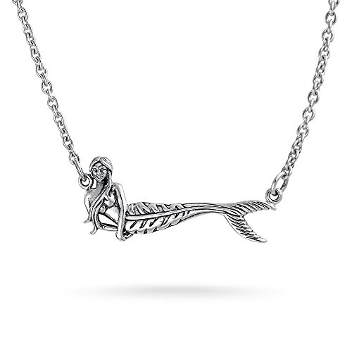 Pretty Sterling Silver Nautical Mermaid Pendant Necklace