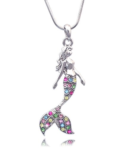 Cute and Girly Mermaid Pendant Necklace with Colorful Stones