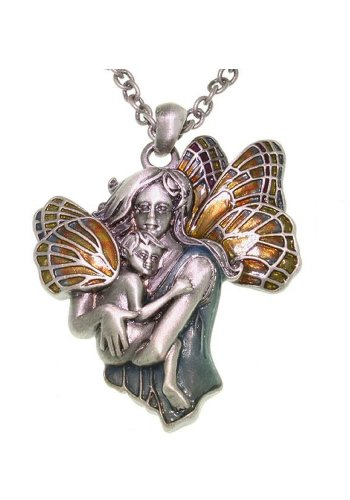 Pewter and Enamel Fairy Mom and Baby Pendant with 24 Inch Chain Necklace