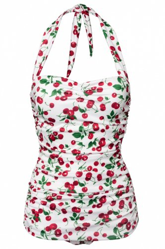 Very Cute Women's 50's Pin Up Swimsuit in Cherry Print
