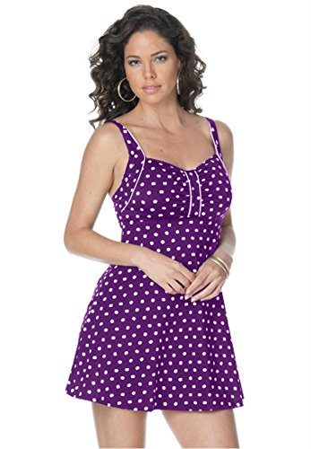 Women's Plus Size PURPLE Retro Dot Swimdress
