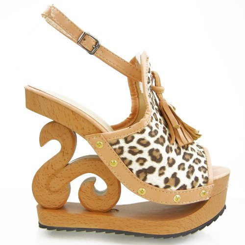 Cute Leopard Print Wooden Platform Wedge Sandals