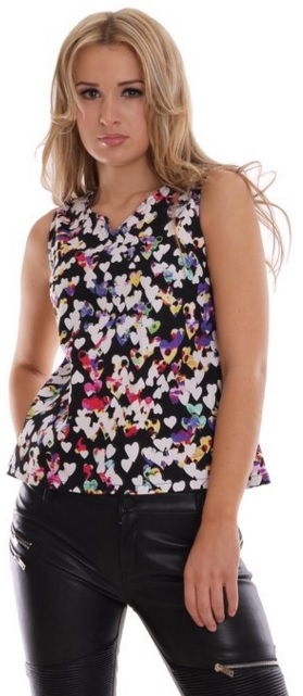 Colorful Hearts Print Summer Top
