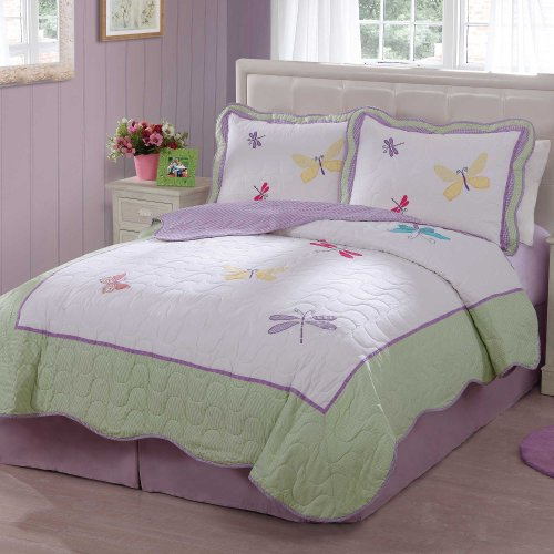 Cute Dragonfly Butterfly Quilt Set