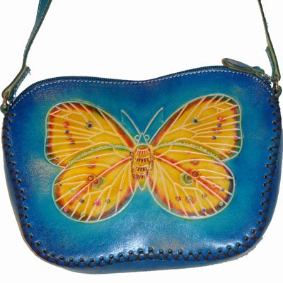 Cute Blue Leather Butterfly Purse