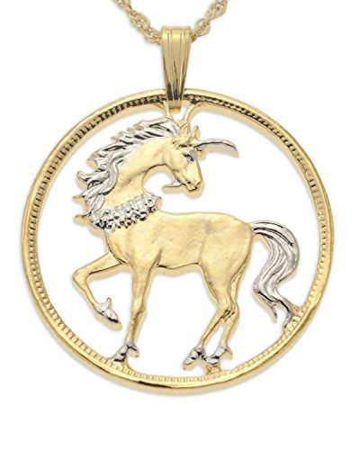 Unique Chinese Coin Hand Cut Unicorn Pendant and Necklace