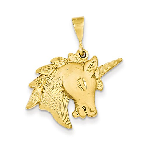 14k Yellow Gold Unicorn Head Charm