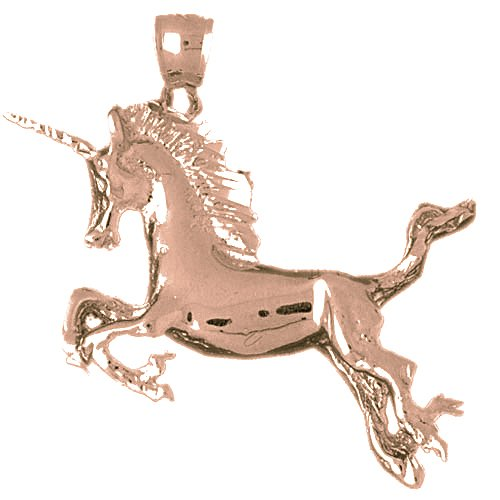 Beautiful 14K Rose Gold Unicorn Pendant Necklace