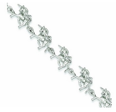 Sterling Silver Unicorns Bracelet