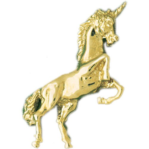 14K Yellow Gold Unicorn Pendant Necklace
