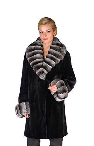 Women's Sheared Mink Fur Knee Length Coat with Chinchilla Trim