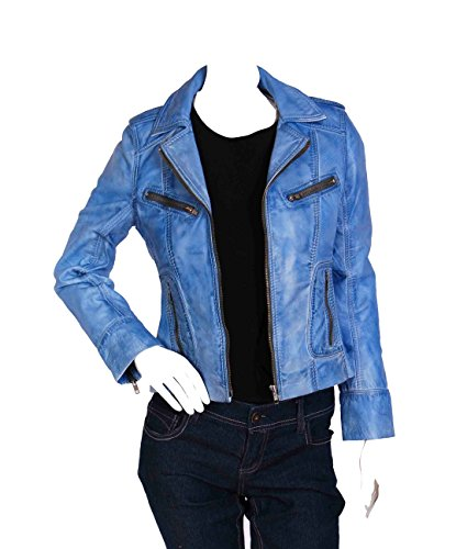 Fashion Blue Fitted Biker Leather Jacket