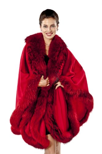 Ferrari Red Fine Cashmere Cape