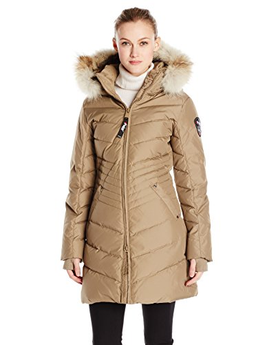 Dark Sand Brown Long Down Parka with Fur Hood