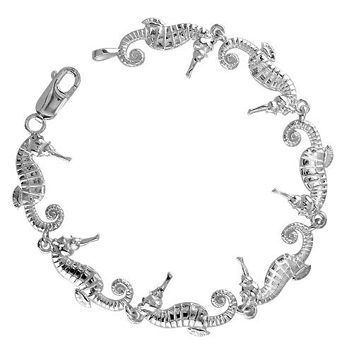 Cute Seahorse Links Bracelet in Sterling Silver