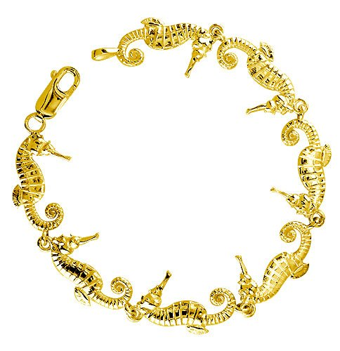 14K Yellow Gold Seahorse Links Bracelet