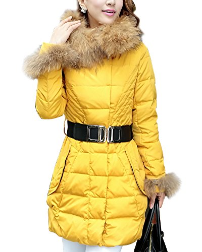 Cute Yellow Quilted Puffer Down Coat