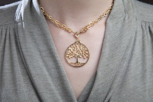 Tree of Life Gold-dipped Pendant Necklace