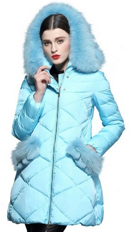Rabbit Fur Trim Diamond-shaped Down Puffy Parka Coat