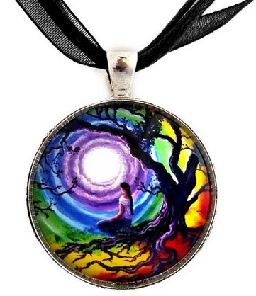 Colorful Tree of Life Meditation Necklace Handmade Jewelry Art Pendant