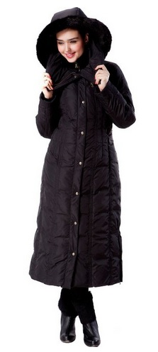 Stylish Long Hooded Puffer Down Coat