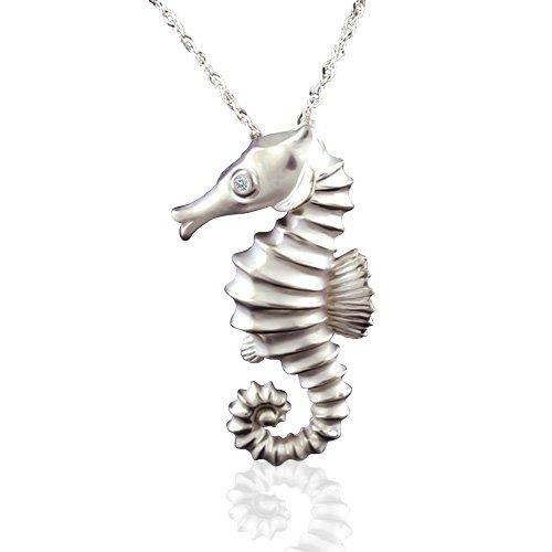 14K White Gold 3D Seahorse Pendant Necklace