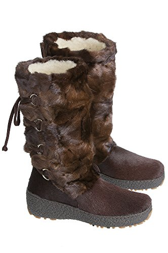 Chocolate Brown Shearling-Lined Mink Fur and Calfskin Boots for Women