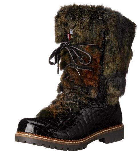 Unique Black Crocodile Fox Italian Fur Winter Boots