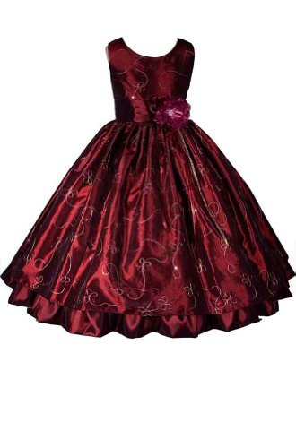 Elegant Burgundy Flower Girl Dress