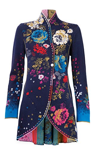 Merino Wool Floral Sweater Jacket