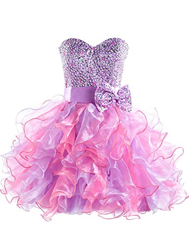Cute Short Sparkly Purple Dress for Teen Girls