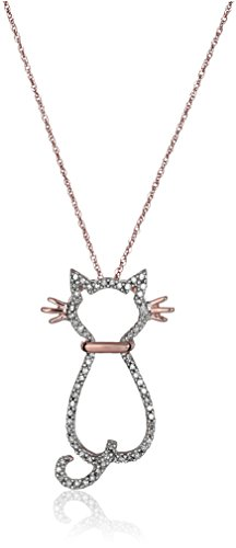 Adorable Rose Gold and Diamond Kitty Cat Pendant Necklace
