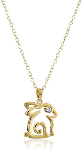 Adorable Gold Plated Sterling Silver Diamond-Accent Bunny Pendant Necklace