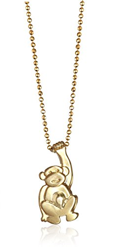 Fun Yellow Gold Monkey Pendant Necklace