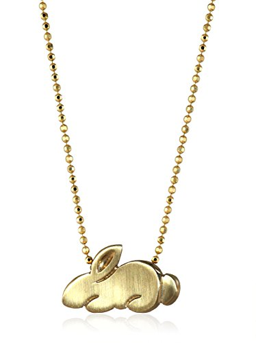 Cute Yellow Gold Rabbit Pendant Necklace