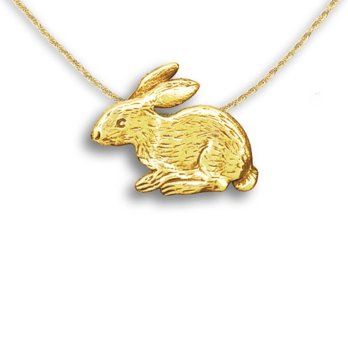 14k Gold Rabbit Pin Pendant