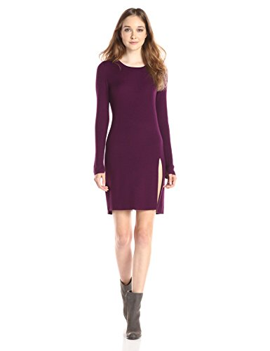 Beautiful Long Sleeve Purple Wool Women's Knit Tunic Dress