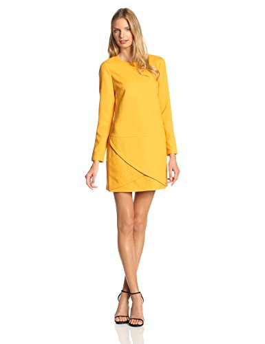 Unique YELLOW Wool Long Sleeve Shift Dress