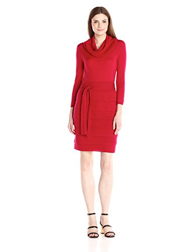Bright RED 100% Merino Wool Women's Sweater Day Dress
