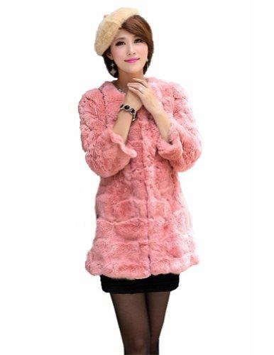Adorable Real Rabbit PINK Fur Coat