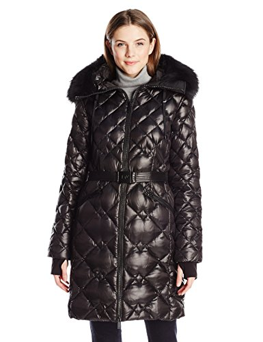 Diane von Furstenberg Women's Belted Down Puffer Coat with Detachable Fur Hood