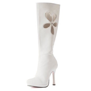 Cute White Boots with Flower Design