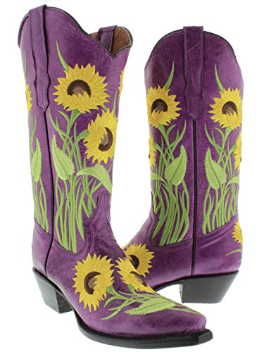 Cute Purple Leather Cowgirl Boots with Sunflower Design
