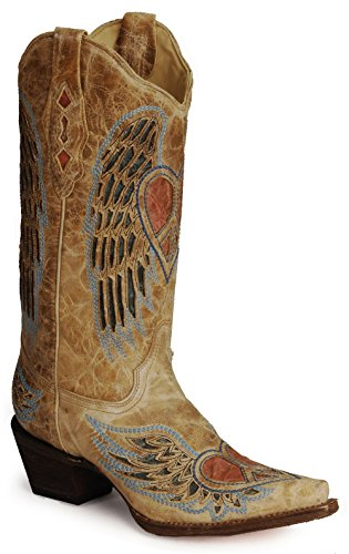 Women's Heart Angel Wings Cute Cowgirl Western Boots