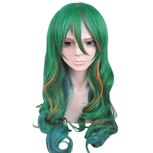 Wavy Curly Highlights Cosplay Costume Party Wig Green
