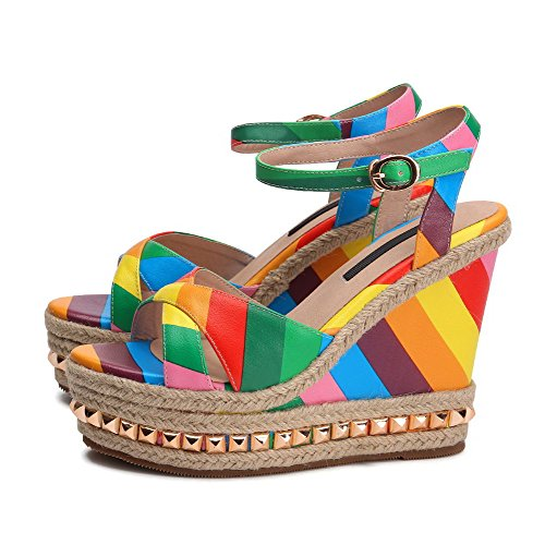 Colorful Rainbow Platform Sandals for Women